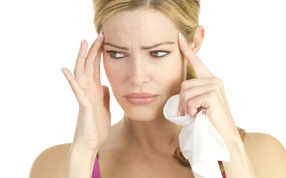Woman with Toothache or Sinus Pain